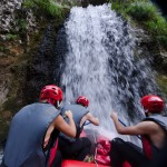 Rafting into waterfall on Neretva