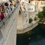 Professional jumping from Mostar's bridge