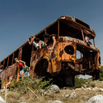 A rusted bus