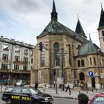 Church and demolished building in Sarajevo